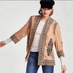 NEW $129 Zara Pink Embroidered Velvet Kimono-  S